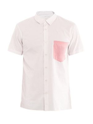 Solid pocket short-sleeve shirt
