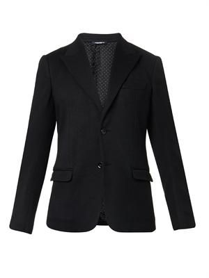 Peak-lapel knitted blazer