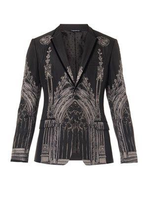 Cathedral-print silk-blend blazer