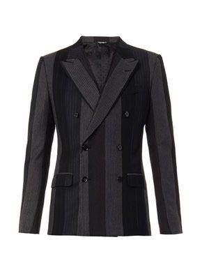 Contrast-panel wool blazer