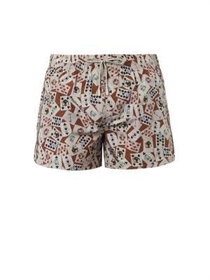 Card-print swim shorts