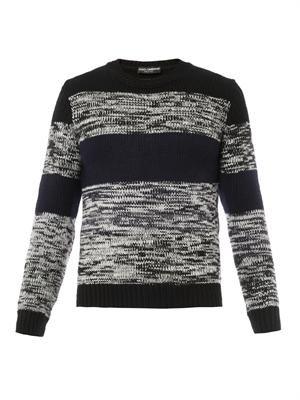 Striped wool-knit sweater