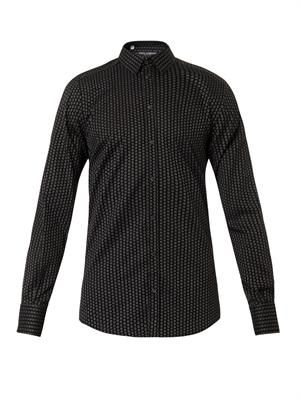 Gold-fit polka-dot jacquard cotton shirt