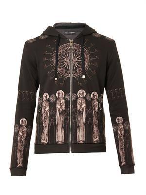 Holy Cathedral-print hood sweatshirt