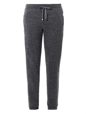Wool-knit track pants