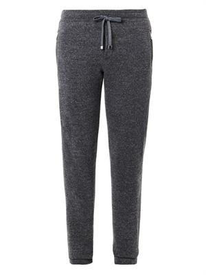 Wool-knit track pants