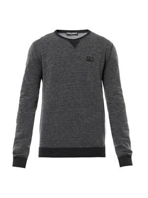 Crew-neck charcoal-grey wool sweater