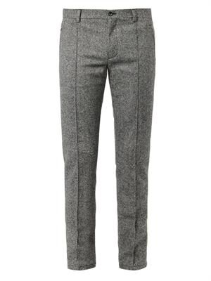 Slim-leg wool-blend trousers