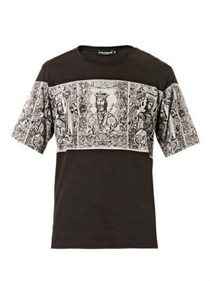 Noran Kings-print cotton T-shirt