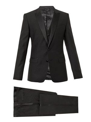 Martini-fit three-piece tuxedo