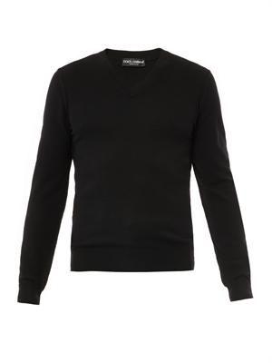 V-neck cashmere-knit sweater