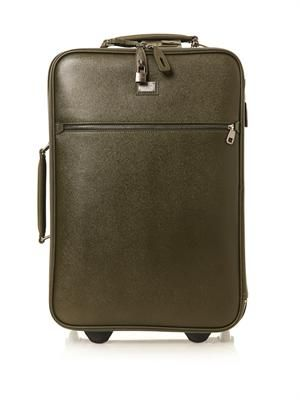 Grained-leather trolley suitcase