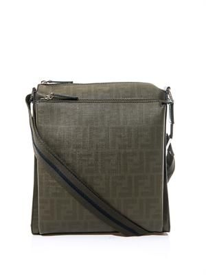 FF logo grained-leather messenger