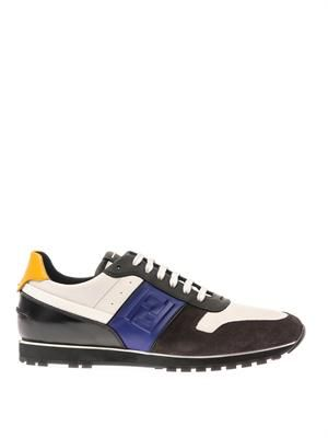 Suede and leather trainers