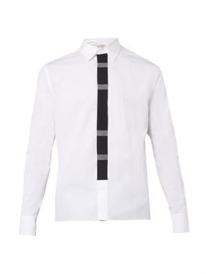Knitted-placket cotton shirt