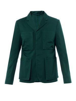 Notch-lapel gabardine jacket