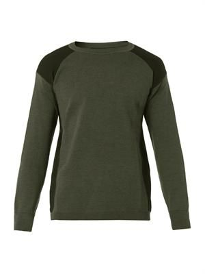 Colour-block wool knit sweater