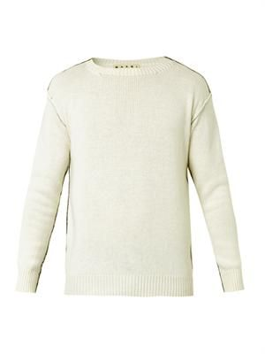 Contrast-piping wool-knit sweater
