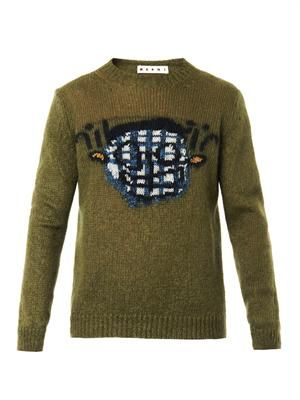 Intarsia-knit mohair-blend sweater