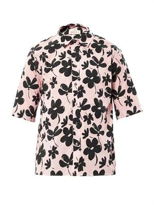 Floral-print short sleeved shirt
