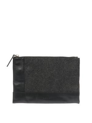 Felt and leather medium zip pouch
