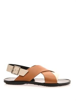 Bi-colour leather sandals