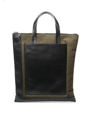 Leather and felt tote