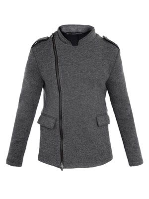 Wool-jersey collarless jacket