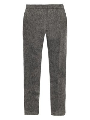Chevron wool trousers