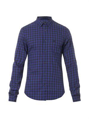 Henry check-print shirt