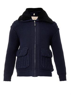 Burnham shearling-collar cardigan