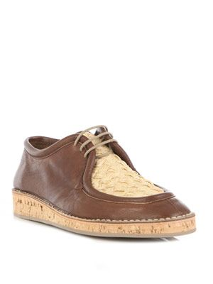 Cork sole raffia lace-up shoes
