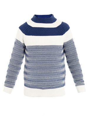 Funnel-neck stripe-knit sweater