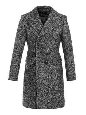 Brushed wool double-breasted coat