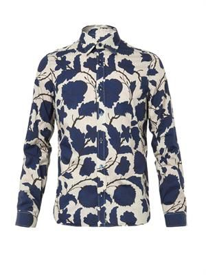 Floral-print cotton-blend shirt