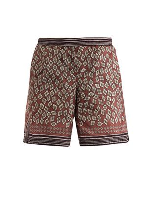Geometric-print swim shorts