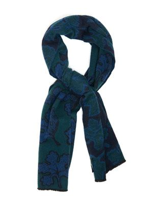 Leaf-motif heavy-cashmere scarf
