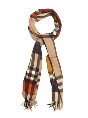Colour-block checked cashmere scarf