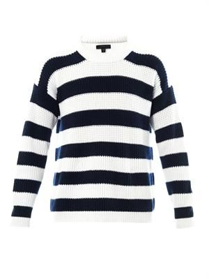 Striped cashmere cotton-blend sweater