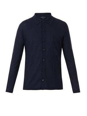 Point-collar cashmere-knit overshirt