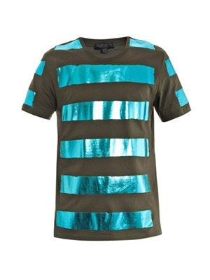 Metallic panel T-shirt