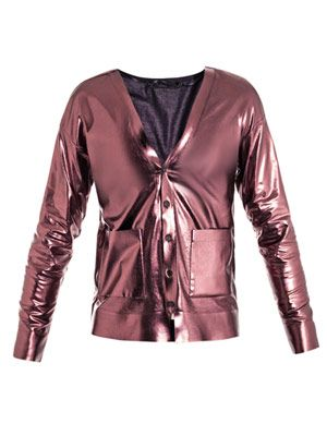 Foil-coated metallic cardigan