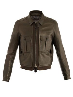 Bonded leather bomber jacket