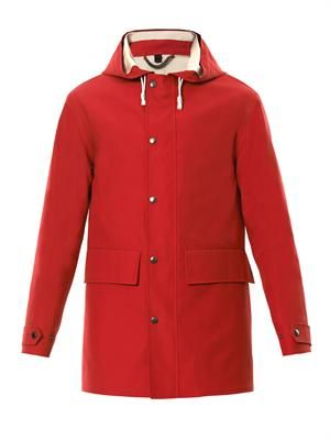 Bonded-cotton hooded raincoat