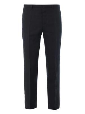 Flat-front heavy-linen trousers