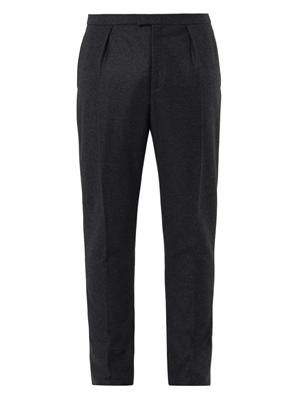 Pleated-front wool cashmere-blend trousers