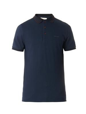 Adler navy cotton-piqué polo top