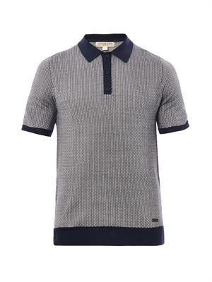 Basketweave-effect knitted polo shirt