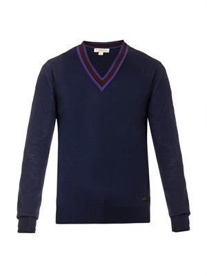 Military ribbon-stripe wool sweater