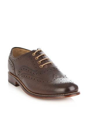 William grained leather shoes